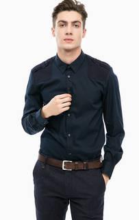 Синяя приталенная рубашка с хлопковыми вставками Antony Morato