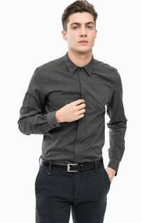 Серая приталенная рубашка из хлопка Antony Morato