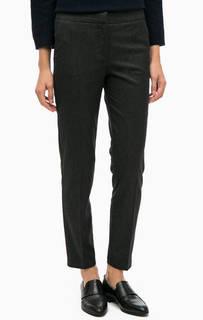 Черные укороченные брюки в полоску Stefanel