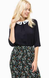Синяя блуза с контрастным воротником и вышивкой Sugarhill Boutique