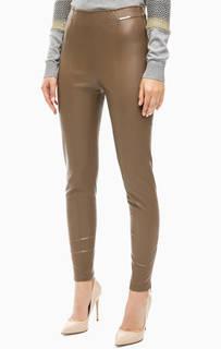 Коричневые брюки с молниями внизу штанин Patrizia Pepe