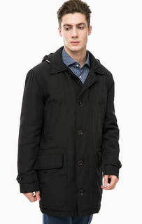 Черная демисезонная куртка с капюшоном Pierre Cardin