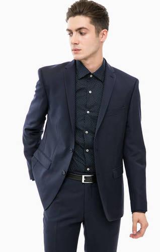Синий классический пиджак из шерсти