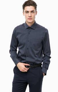 Синяя хлопковая рубашка в полоску Pierre Cardin