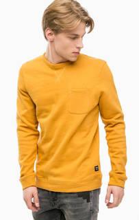 Желтый хлопковый свитшот с карманом Tom Tailor Denim