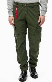 Хлопковые брюки цвета хаки с карманами Alpha Industries