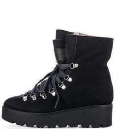 Высокие черные ботинки из нубука Massimo Santini