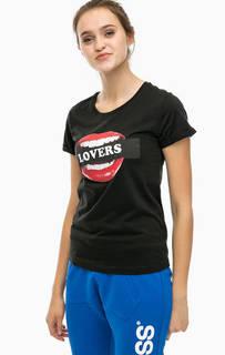 Черная футболка с принтом Happiness