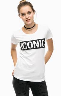 Белая футболка с принтом Happiness