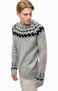 Серый вязаный свитер с узором Blend