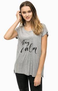Серая футболка с принтом Blend She