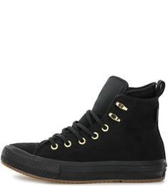Черные кожаные кеды Converse