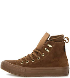 Коричневые кожаные кеды Converse