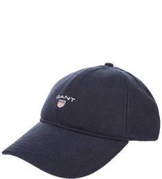 Синяя бейсболка с логотипом бренда Gant