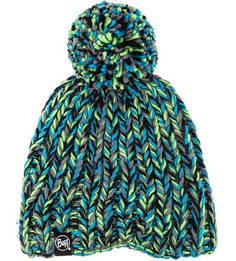 Разноцветная вязаная шапка с помпоном Buff