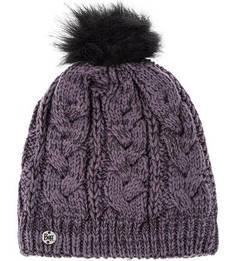 Фиолетовая вязаная шапка с помпоном Buff