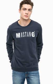 Синяя хлопковая футболка с логотипом бренда Mustang