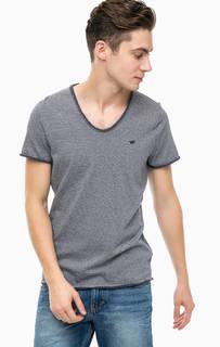 Синяя хлопковая футболка в полоску Mustang