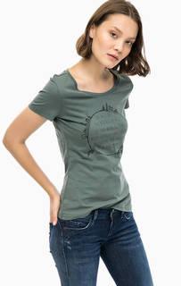 Зеленая хлопковая футболка с принтом Mustang