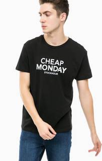 Черная футболка с принтом Cheap Monday
