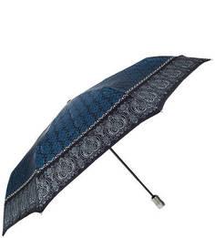 Складной зонт с синим куполом из сатина Doppler