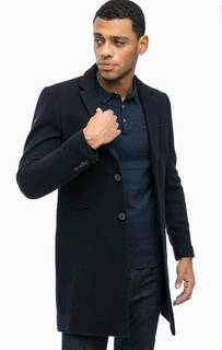 Классическое синее пальто из шерсти Superdry
