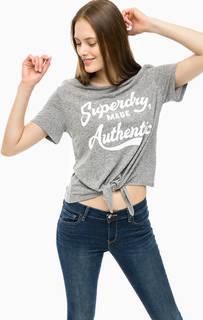 Серая льняная футболка с принтом Superdry