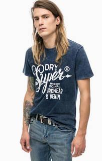 Синяя хлопковая футболка с принтом Superdry