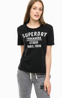 Черная футболка с принтом Superdry