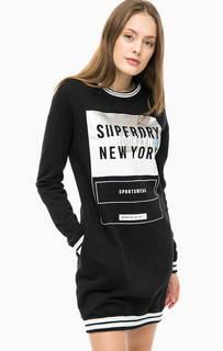 Черное хлопковое платье с принтом Superdry