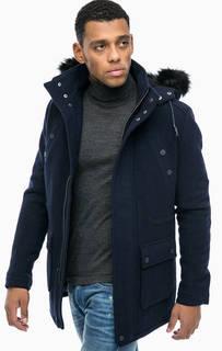 Синее демисезонное пальто с капюшоном Mavi