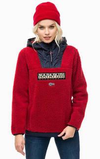 Красная куртка-анорак с нашивками Napapijri
