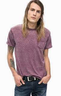 Фиолетовая футболка с нагрудным карманом Alcott
