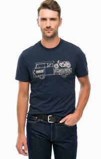 Хлопковая футболка синего цвета Barbour