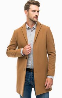 Коричневое классическое пальто из шерсти Selected