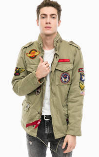 Куртка из хлопка цвета хаки с нашивками Alpha Industries