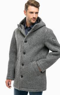 Серое демисезонное пальто с капюшоном EA7