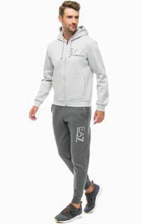 Серый хлопковый костюм из толстовки и брюк EA7