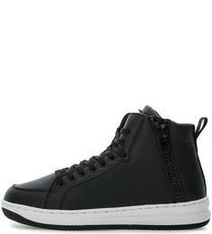 Высокие черные кеды на шнуровке и молнии EA7