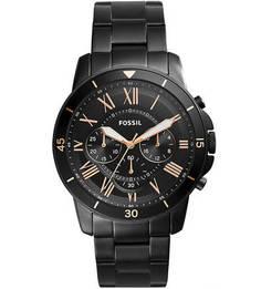 Часы с металлическим браслетом черного цвета Fossil