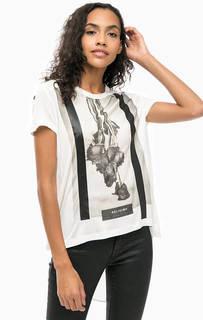 Белая футболка с удлиненной спинкой Religion
