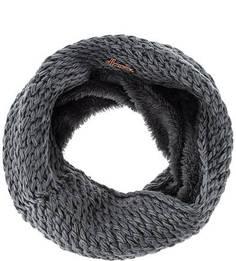 Шарф-хомут крупной вязки серого цвета Herman