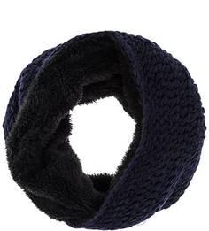 Шарф-хомут крупной вязки синего цвета Herman
