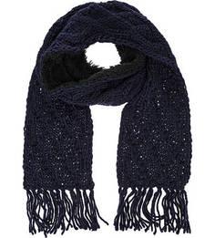 Синий шарф крупной вязки Herman