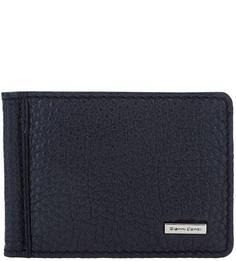 Синий кожаный зажим для денег с кармашками Gianni Conti
