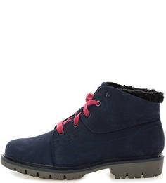 Синие ботинки из нубука с текстильными вставками Caterpillar