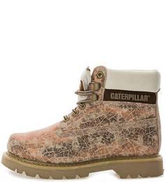Ботинки из нубука с животным принтом Caterpillar