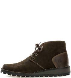 Коричневые замшевые ботинки на шнуровке FLY London