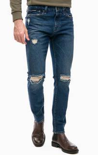 Синие джинсы скинни с рваными деталями Mavi