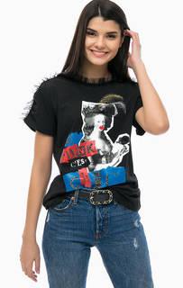 Хлопковая футболка с принтом и нашивками Pinko